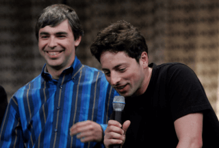 Larry Paige and Sergey Brin looking happy