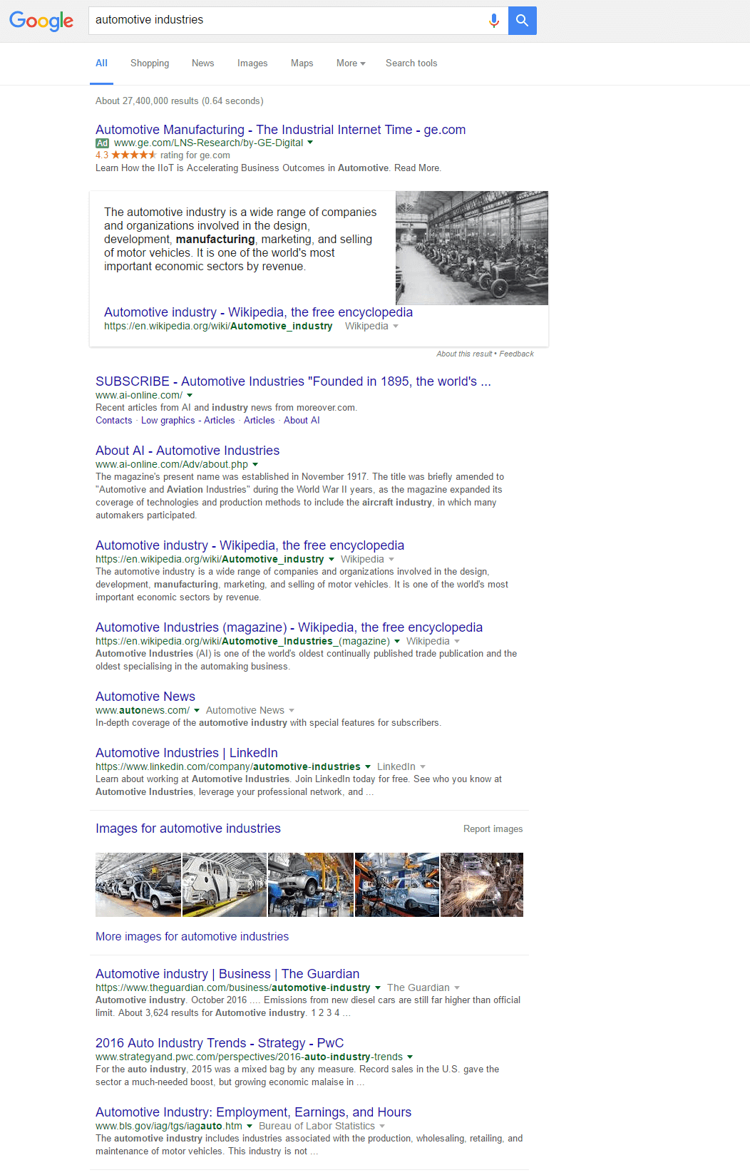 automotive industries SERP