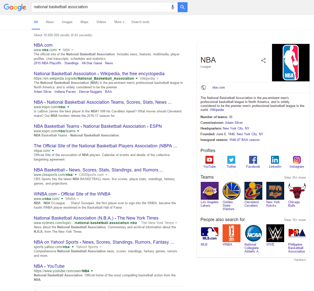 national basketball association SERP