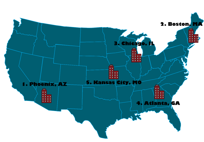 top 5 cities in America to get an SEO job - January 2017