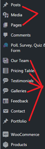 WordPress side menu