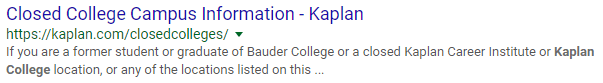 Kaplan Collee closed campuses SERP result
