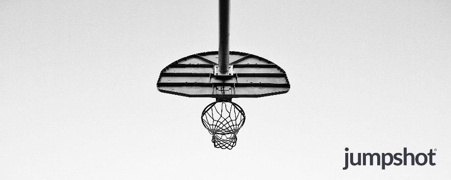 basketball hoop with jumpshot logo